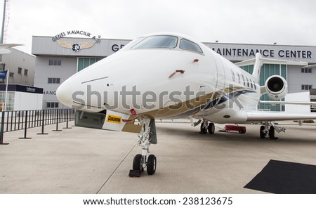 ISTANBUL, TURKEY - SEPTEMBER 27, 2014: Bombardier Challenger 300 in Istanbul Airshow which held in Ataturk Airport