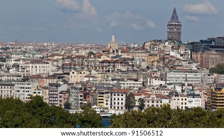ISTANBUL, TURKEY - SEPTEMBER 29: City panorama with Galata Tower shot from Topkapi palace on September 29, 2011 in Istanbul, Turkey. - stock photo