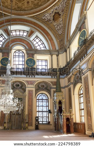 ISTANBUL, TURKEY - SEPTEMBER 30 : Dolmabahce Mosque on September 30, 2014 in Istanbul. The central dome of the Dolmabahce Mosque from the inside .The mosque was constructed between 1853 and 1855