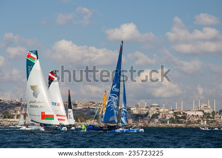 ISTANBUL, TURKEY - SEPTEMBER 13, 2014: Extreme 40 Sailboats compete in Extreme Sailing Series. - stock photo