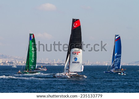 ISTANBUL, TURKEY - SEPTEMBER 13, 2014: Groupama, TeamTurx and Gazprom Team Russia competes in Extreme Sailing Series.