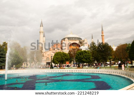 ISTANBUL, TURKEY - SEPTEMBER 23: Hagia Sophia former Greek Orthodox patriarchal basilica (church), later an imperial mosque, and now a museum  on September 23, 2014 in Istanbul, Turkey - stock photo