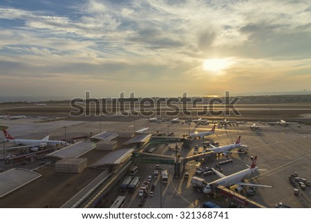 Istanbul, Turkey, September 26, 2015: Istanbul Ataturk Airport view during the sunset where is the base for Turkish Airlines