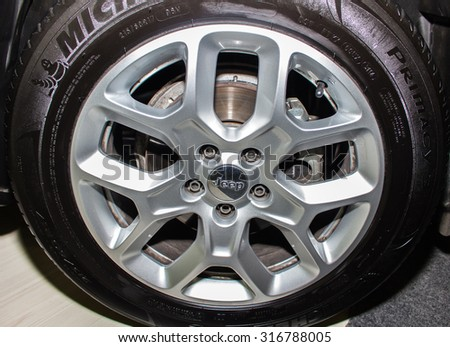 Istanbul - Turkey, September 12, 2015: One of the Most Known Car White Jeep Wheel with Michelin Tyre - stock photo