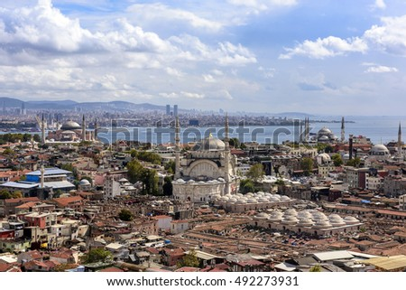 ISTANBUL, TURKEY - SEPTEMBER 27, 2016: Panorama of the city of Istanbul aerial view sightseeing sky from Beyazit Tower on September 27, 2016 in Istanbul, Turkey.