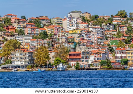 ISTANBUL, TURKEY - SEPTEMBER 29, 2013: Panoramic view of the waterfront houses in Yenikoy.