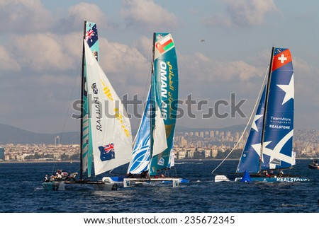 ISTANBUL, TURKEY - SEPTEMBER 13, 2014: Red Bull Sailing, Oman Air and Realteam compete in Extreme Sailing Series. - stock photo