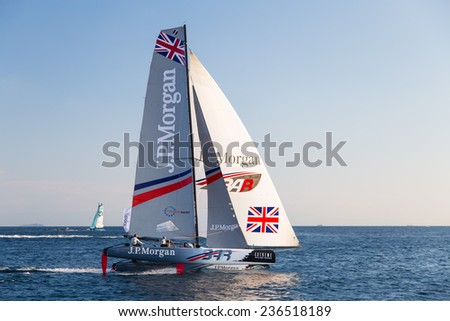 ISTANBUL, TURKEY - SEPTEMBER 13, 2014: Skipper Ben Ainslie, J.P. Morgan BAR Team competes in Extreme Sailing Series.