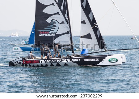 ISTANBUL, TURKEY - SEPTEMBER 14, 2014: Skipper Dean Barker, Emirates Team New Zealand competes in Extreme Sailing Series.
