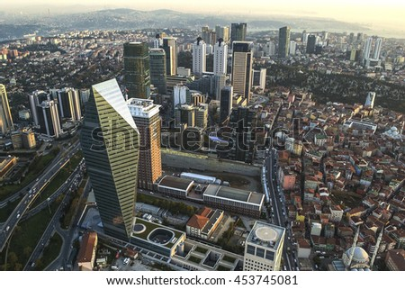 ISTANBUL, TURKEY - SEPTEMBER 23: Skyscrapers and modern office buildings at Levent District. With Bosphorus background. September 23, 2015 in Istanbul, Turkey.