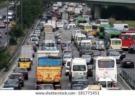 ISTANBUL, TURKEY - SEPTEMBER 16: Traffic jam at E-5 Highway in Istanbul European Side on September 16, 2006 in Istanbul, Turkey. - stock photo