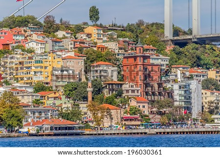 ISTANBUL, TURKEY - SEPTEMBER 29, 2013: View of the residental buildings by the Fatih Sultan Mehmet Bridge, sailing Bosphorus.