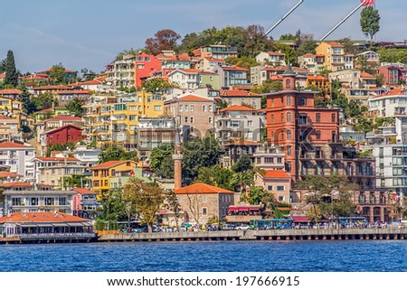 ISTANBUL, TURKEY - SEPTEMBER 29, 2013: View of the residental buildings by the Fatih Sultan Mehmet Bridge, sailing Bosporus.