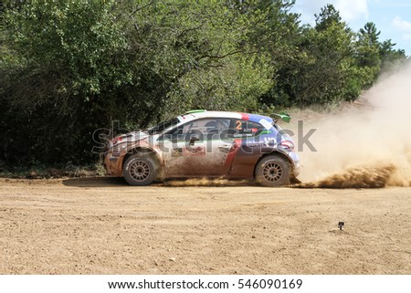 ISTANBUL, TURKEY - SEPTEMBER 25, 2016: Yagiz Avci drives Peugeot 208 T16 R5 of Neomotorspor Team in Istanbul Rally
