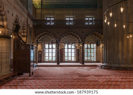 ISTANBUL, TURKEY - 11th of April 2014: Interior of the Eminonu Mosque (New Mosque) on 11th of April 2014 in ISTANBUL, TURKEY