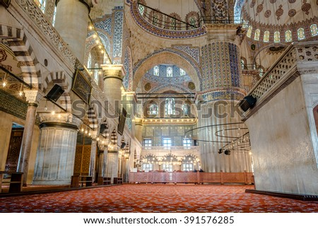 ISTANBUL, TURKEY - 15th of February 2016: Interior of a Sultanahmet Mosque mosque (Blue Mosque) interior design  on 15th of February 2016 in ISTANBUL, TURKEY