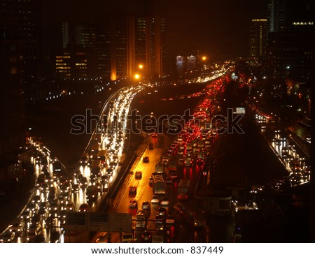Istanbul Turkey Traffic jams in Business center. - stock photo