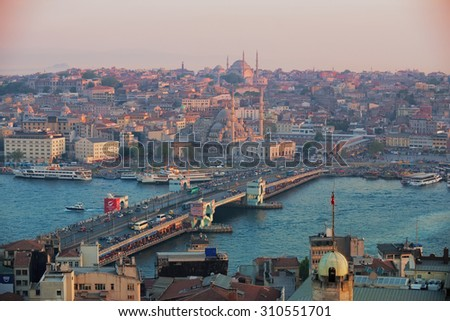Istanbul, Turkey, View from Galata Tower - stock photo