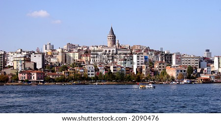 Istanbul, Turkey. View of Galata Tower from the sea. - stock photo
