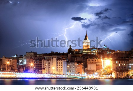 Istanbul, Turkey with storm - stock photo