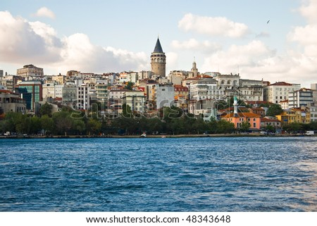 Istanbul, view from the sea - stock photo