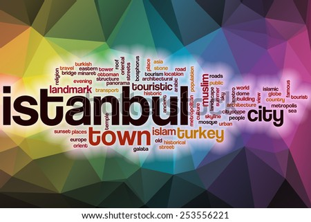 Istanbul word cloud concept with abstract background - stock photo