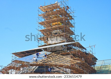 ISTRA, RUSSIA -  JULY 23, 2014: Restoration of the Church. New Jerusalem Monastery, Istra, Moscow oblast, Russia. New Jerusalem Monastery there is a pilgrimage center for tourists and travelers.