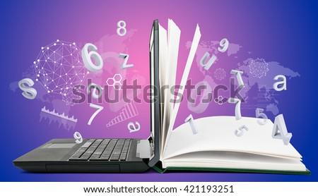 IT Communication, e-learning. Internet network as knowledge base - stock photo