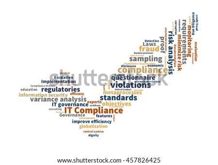 IT compliance word cloud - stock photo
