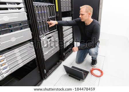 It consultant work with blade servers - stock photo