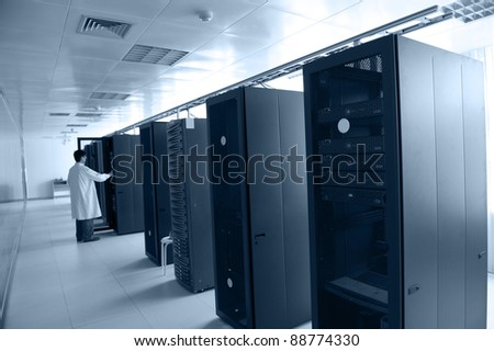 IT engineer working in data center. - stock photo