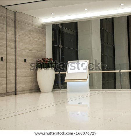 it is a advertisement blank in a modern building - stock photo