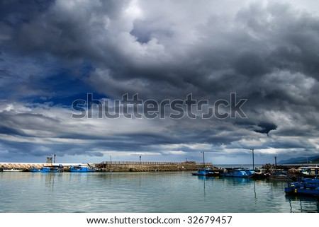 It is a bay before storm coming. - stock photo