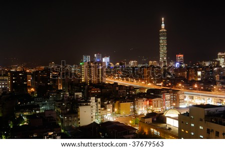 It is a city night scene in Taipei.