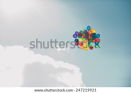 It is a lot of balloons in air. - stock photo