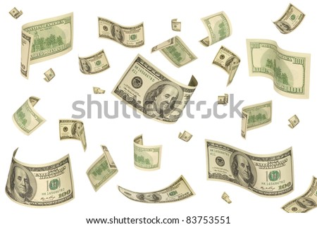 It is a lot of dollars (different form) on a white isolated background.