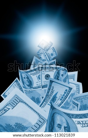 It is a lot of dollars on a dark blue art background. - stock photo