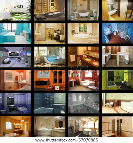 It is a lot of pictures of various interiors of bathrooms in different styles