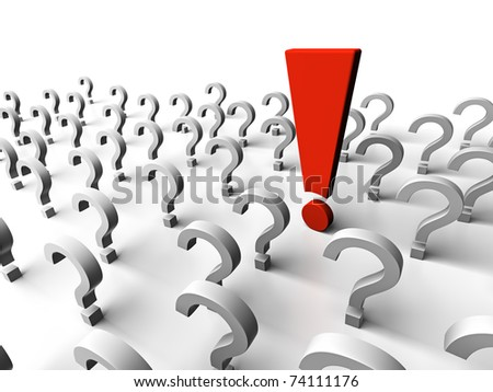 It is a lot of question marks and one exclamation mark - stock photo