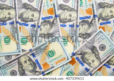 it is a lot of scattered dollars. top view - stock photo
