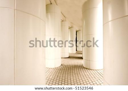 it is a modern corridor in hong kong - stock photo