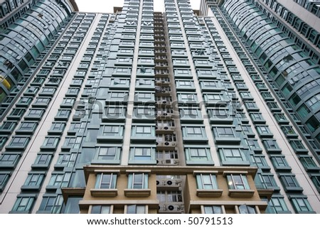 it is a shot of Hong Kong housing apartment block. - stock photo