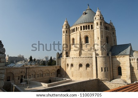 It is a view of the Hagia Sion Abbey in Jerusalem  on Mt. Zion just outside the walls of the Old City near the Zion Gate. - stock photo