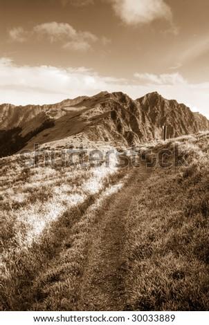 It is a way toward the beautiful mountain. - stock photo