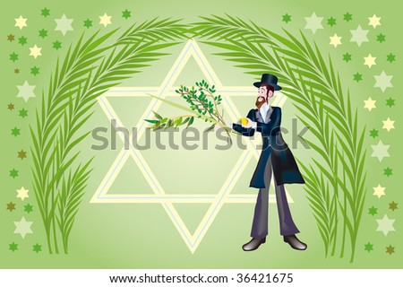 It is accepted to give all four types of plants each of which symbolizes the certain type of people. Lulav and Etrog - stock photo