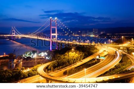 It is beautiful night scenes of Tsing Ma Bridge in Hong Kong. - stock photo