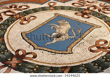 It is believed, that if one turns around 3 times on the bull's testicles, shown on this coat of arms, it brings fertility, health and wealth to that person. - stock photo