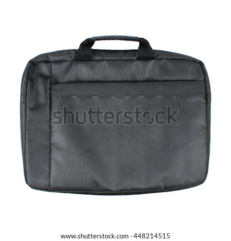it is black notebook bag isolated on white.