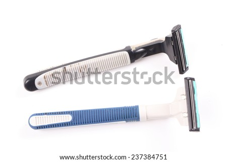 It is Blue and black razor isolated on white. - stock photo