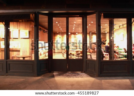 Blur Restaurant Front Pattern Background Stock Photo Royalty Free